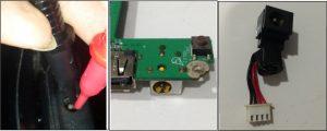 Konektor DC charger rusak
