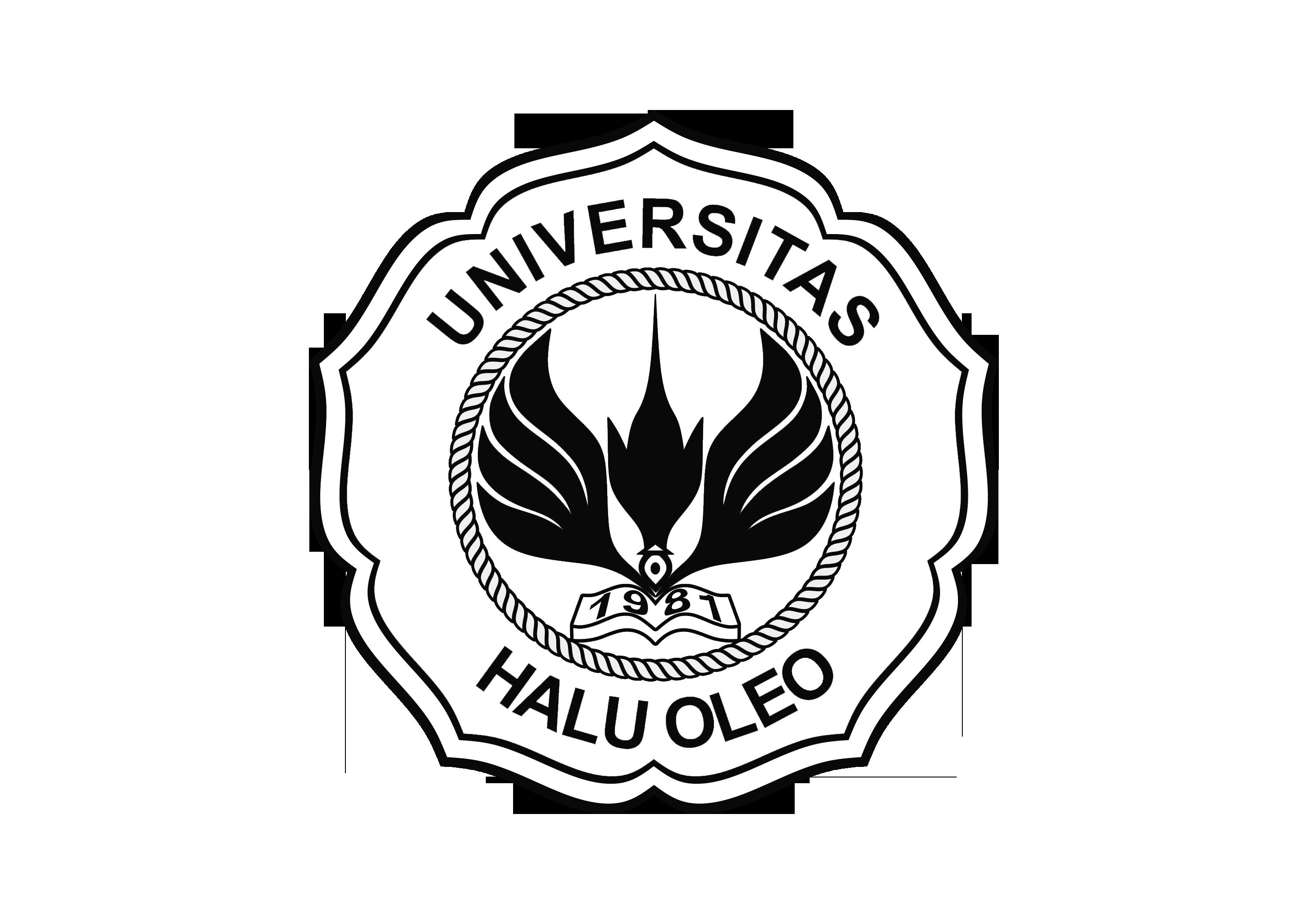 Logo UHO (Universitas Halu Oleo) Original PNG Hitam Putih