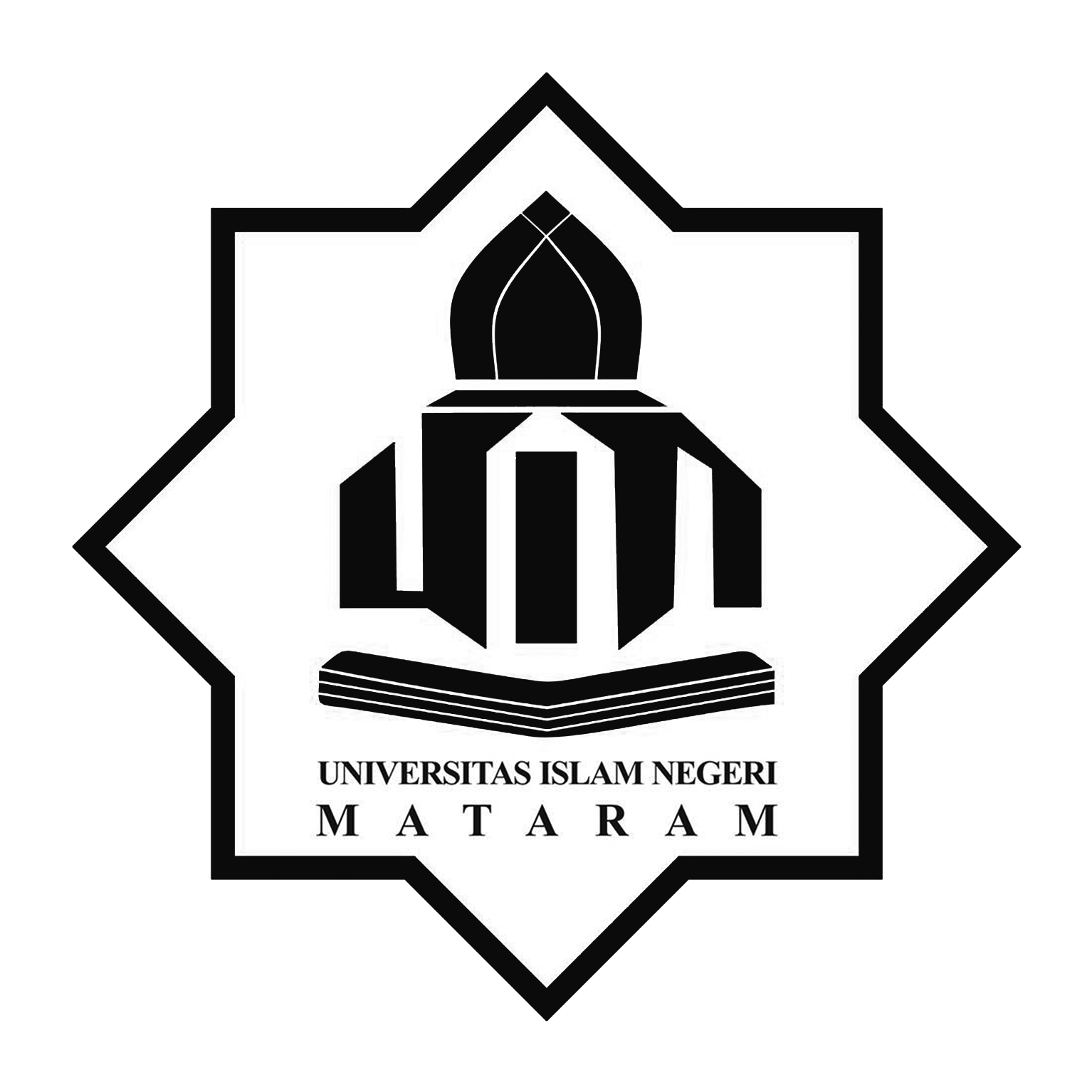 Logo UIN Mataram (Universitas Islam Negeri Mataram) Hitam Putih