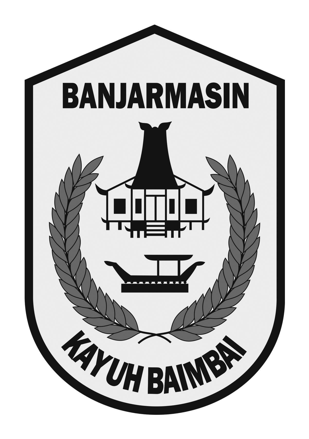 Logo Banjarmasin (Kota Banjarmasin Kalimantan Selatan) Grayscale