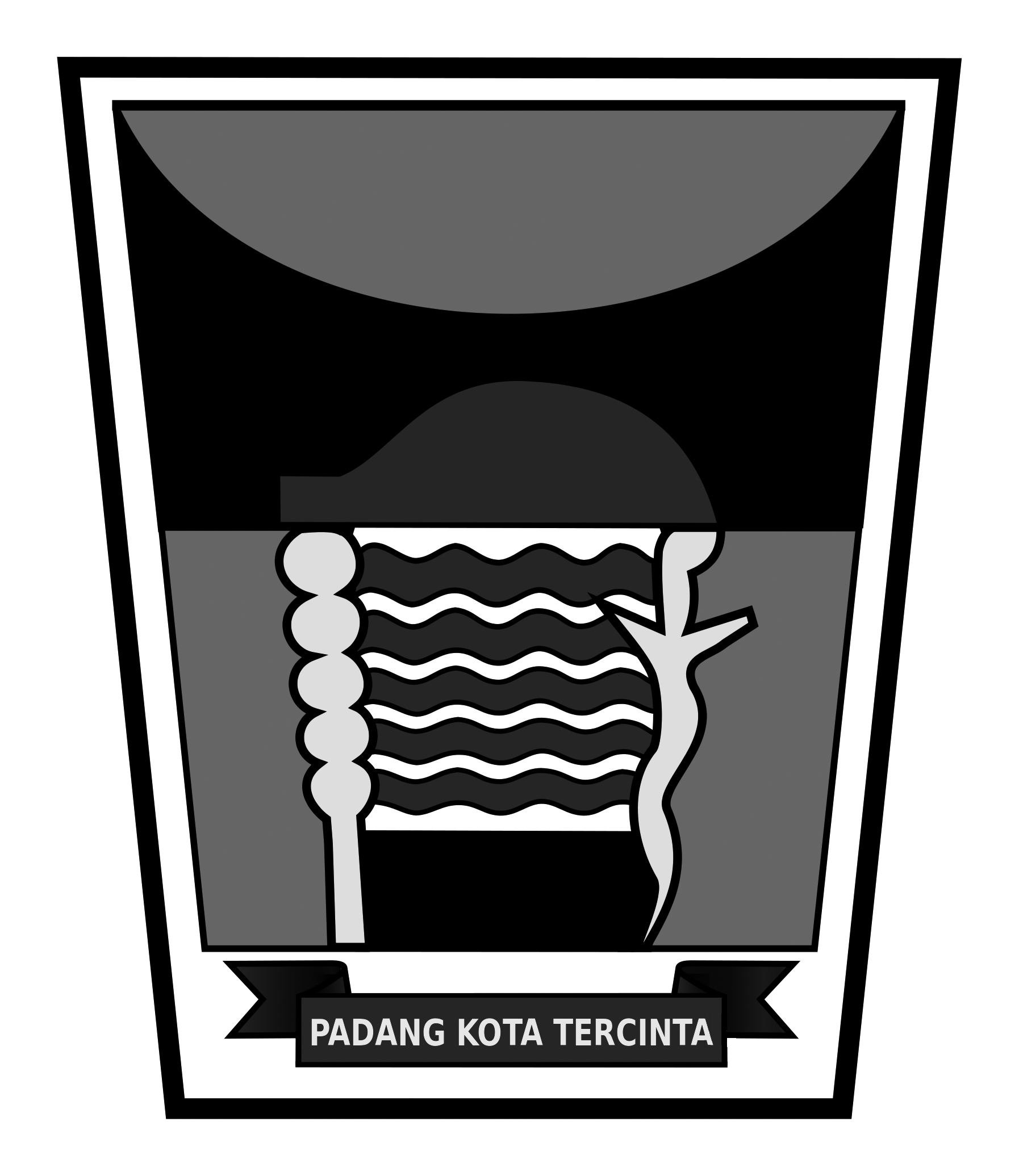 Logo Kota Padang (Provinsi Sumatera Barat) Original Grayscale