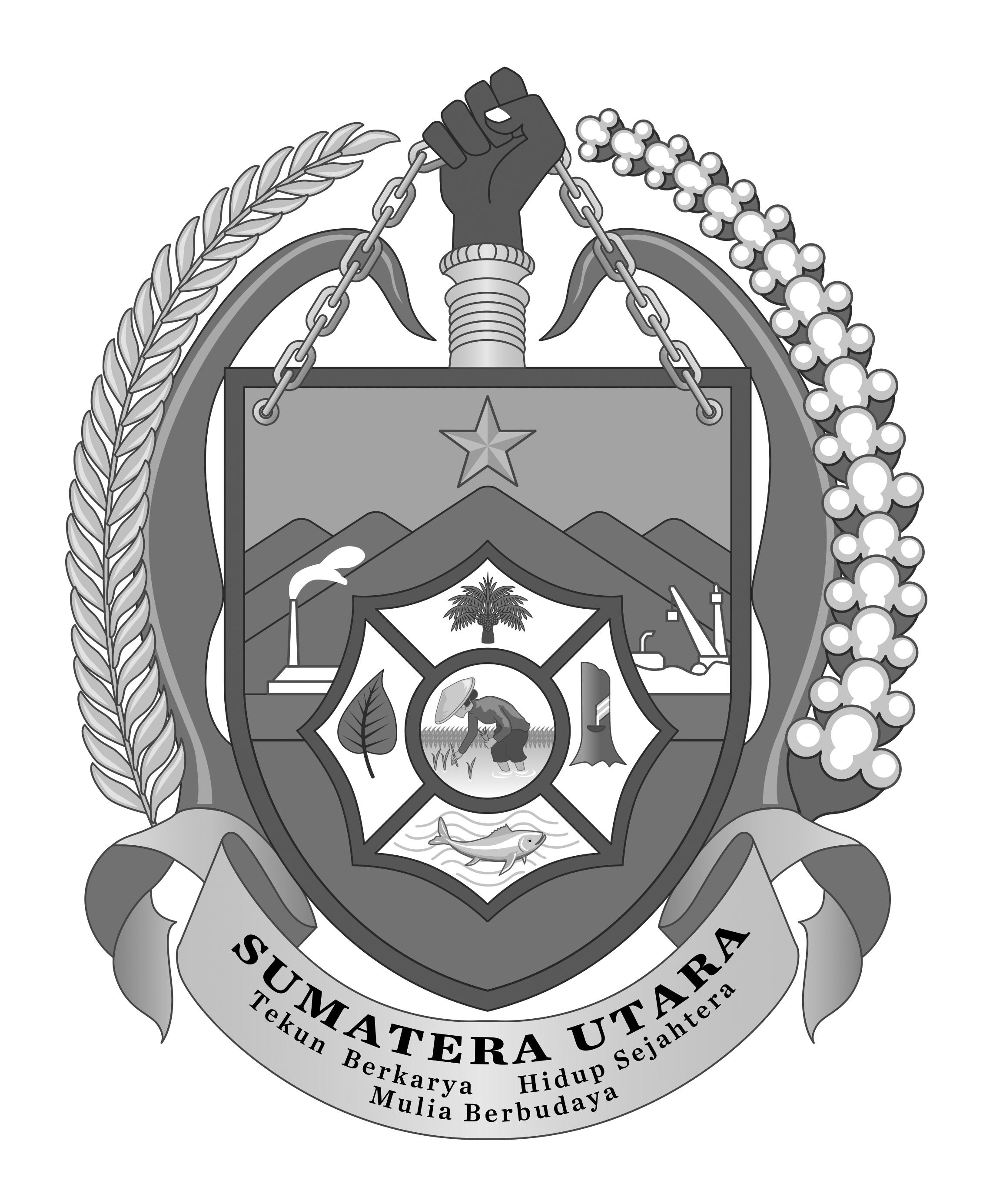 Logo Sumatera Utara (Provinsi Sumatera Utara) Grayscale