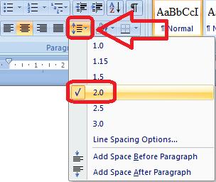 Cara mengubah line spacing