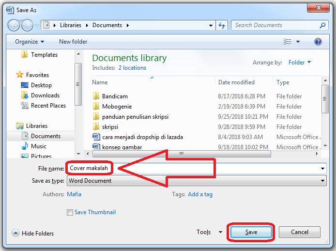 Cara menyimpan file word