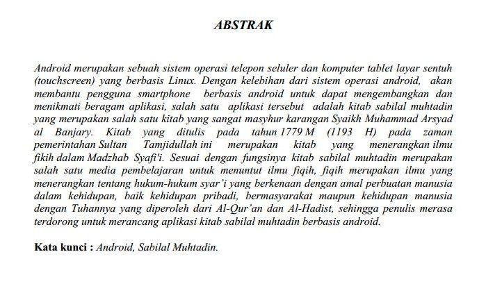 Contoh abstrak skripsi Bahasa Indonesia
