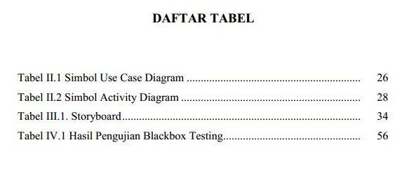 Contoh daftar tabel skripsi