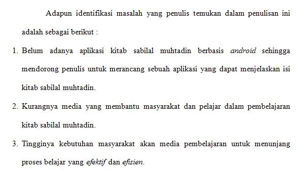 Contoh identifikasi masalah proposal skripsi