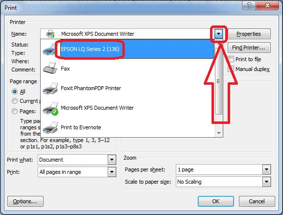 Screenshot cara memilih nama printer