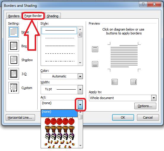 Screenshot tampilan menu Page Border